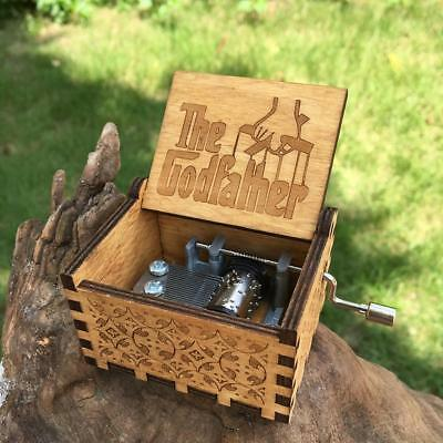 24 style Antique Carved  Music Box The Godfather Music Box Star Wars Wooden Hand