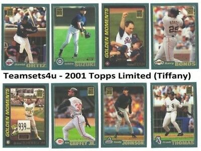 2001 Topps Limited (Tiffany) Baseball Team Sets Pick Your team Set