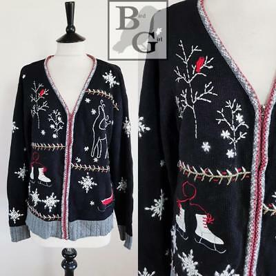 Christmas Embroidered Applique 1980S Vintage Black Cotton Xmas Cardigan L