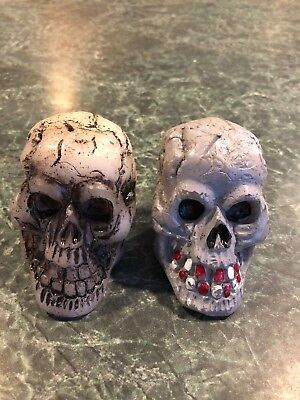 """Vintage Halloween Lot Of (2) Skull Candles 3"""" Decoration Unlit New Old Stock"""