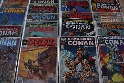 SAVAGE SWORD CONAN lot of 24 Marvel Comic Books in Individual Bag /Board
