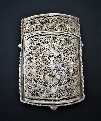Rare Antique Sterling Silver Card Case Signed