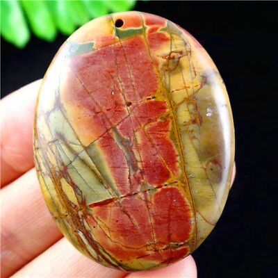 Natural Multicolor Picasso Jasper Oval Pendant Bead 45*35*5mm H8ZP4807