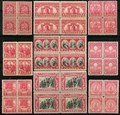 """US 627//703 A Small Lot of """"Red"""" Commemoratives Blocks of Four MNH/MH"""