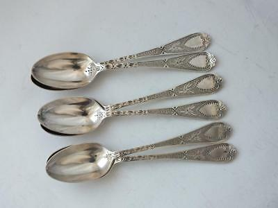 Pretty Quality Set of 6 Antique Victorian Solid Silver Coffee Spoons 1890/ 11cm