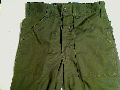 "Vintage Boy Scouts BSA Olive Green Uniform Pants Trousers 26"" Waist 30"" Inseam"