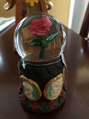 Disney World Glass Beauty and the Beast Musical Red Rose Snowglobe NEW