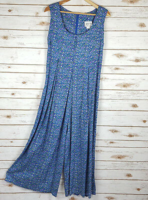 Vintage 80s 90s Blue Floral Jumpsuit 10 Romper Playsuit Palazzo Grunge Rayon USA