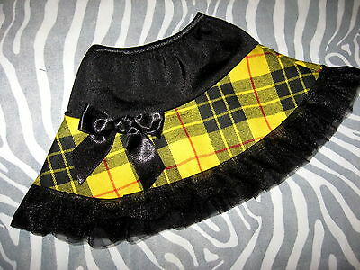 NEW baby Girls Black red yellow Tartan Check Frilly skirt 0-3 Newborn Gothic