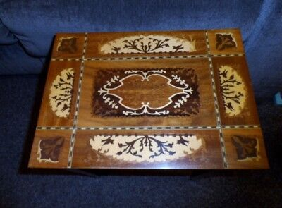 Vintage Italian MARQUETRY Inland Wood Table Jewelry Music Box NICE WOW!
