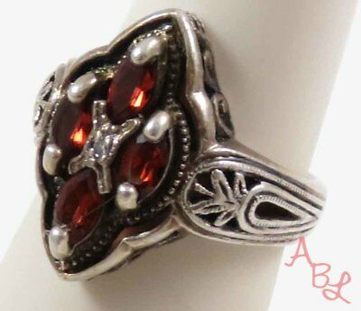 Sterling Silver Vintage 925 Cocktail Garnet & Diamond Ring Sz 6 (5.6g) - 745445