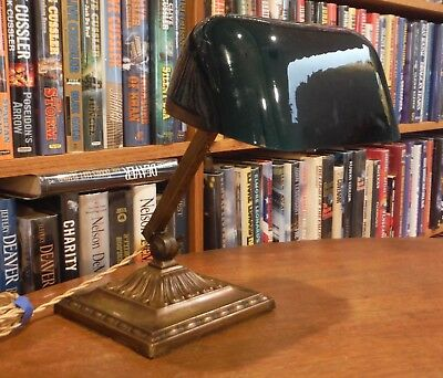 Antique Emeralite Desk Lamp Green Cased Shade #8734