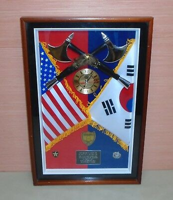 US Military Army 2nd Infantry Division 2ID Wall Award Plaque Clock Shadow Box