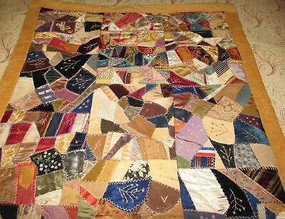 """Antique Crazy Quilt Wall Hanging 39"""" X 72"""", 1920s Hand Crafted"""