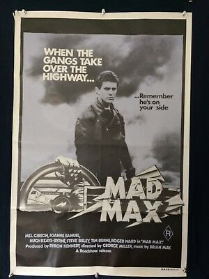 MAD MAX - Mel Gibson - ORIGINAL Purple AUSTRALIAN ONE SHEET MOVIE POSTER
