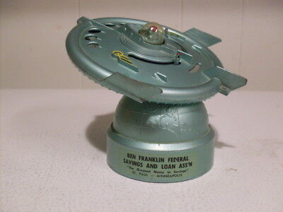 """Rare Near Mint 1956 """"FLYING SAUCER BANK"""" ~ DURO MOLD  Bank ~ W/Key & Information"""