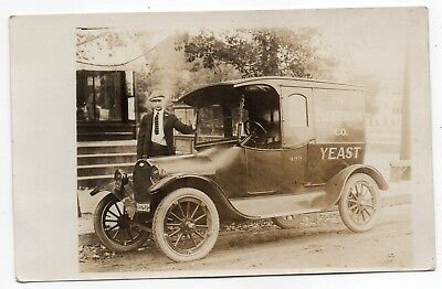 Fleischmann Yeast Company Delivery Truck,chevrolet,1920 Wisconsin Plate,rppc