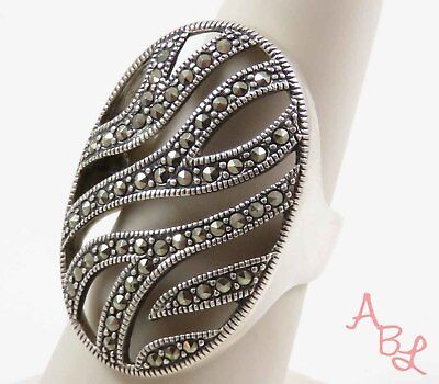 Sterling Silver Vintage 925 Filigree Cocktail Marcasite Ring Sz 6 (8g) - 745588