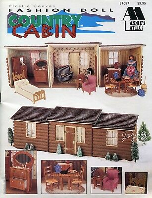 Fashion Doll Country Cabin Dollhouse & Furnishings plastic canvas pattern book