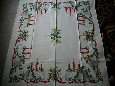 "Vintage 1950's Christmas Tablecloth 42"" By 50"" Yule Tide Log Candles"