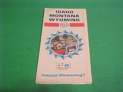 1968 Idaho Montana Wyoming Map Enco Happy Motoring!