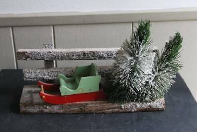 Antique Christmas Sleigh Scene Wooden Fence