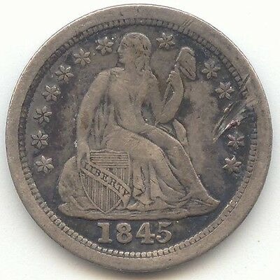1845-O Seated Liberty Dime, Tough Date, Sharp XF Details