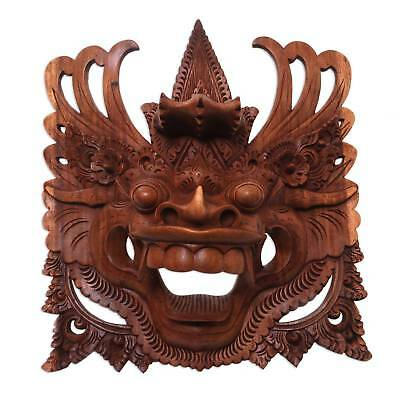 Barong Dragon Mask Bali Hand Carved Wood Hindu Wall Art Sculpture NOVICA