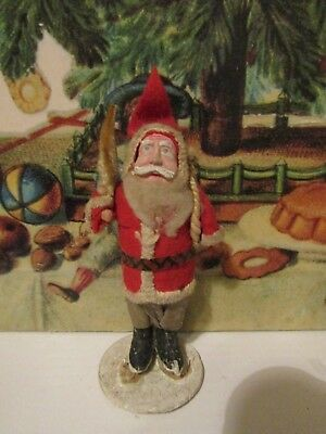 Antique Paper Mache Face Santa Claus w Chenille Tree JAPAN