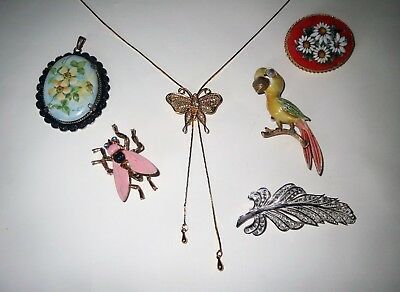 Antique Jewelry Lot  - JJ PARROT MICRO MOSAIC HAND PAINTED CAMEO Collection