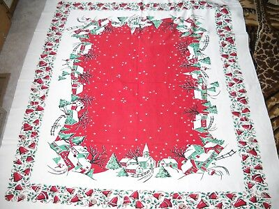 "Vintage 1950's Christmas Tablecloth 52"" By 59"" Snowy Church Houses Bells Holly"