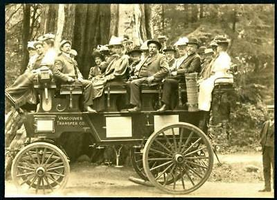 Vtg Real Photo Mount Horse Drawn Tourist Wagon Red Wood Forest Vancouver BC