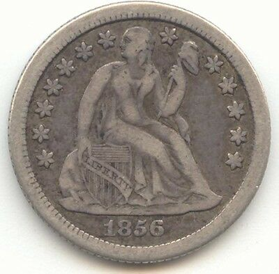 1856-O Seated Liberty Dime, Problem Free VF