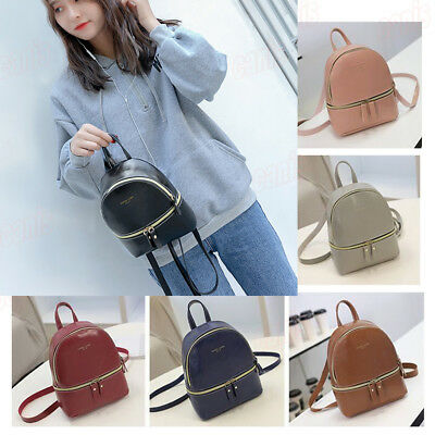 US New Women PU Leather Zipper Backpacks Mini Travel  School Handbags Sweet Gift