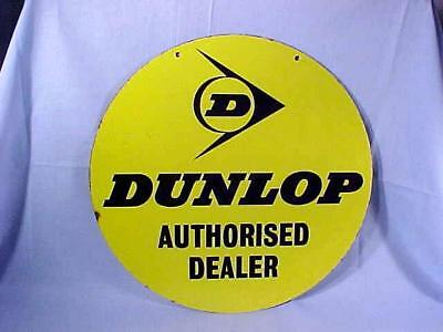 "Vintage 18"" ROUND DUNLOP AUTHORISED DEALER PORCELAIN SIGN DOUBLE SIDED NICE!"