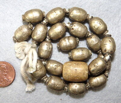 Antique Silver Beads Barrel Oval Collared Ethiopian Tribal