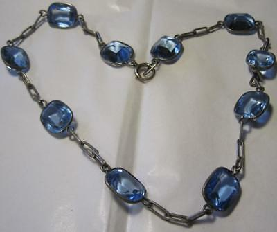early Deco Stunning Blue faceted Glass Bezel Set Necklace open back