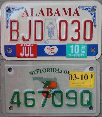 Pair Of 2 Motorcycle License Plates/tags Authentic Metal Alabama & Florida