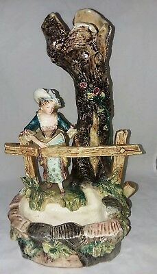 Antique English Majolica Art Pottery Figural Vase Lady By Tree Trunk Number 1320