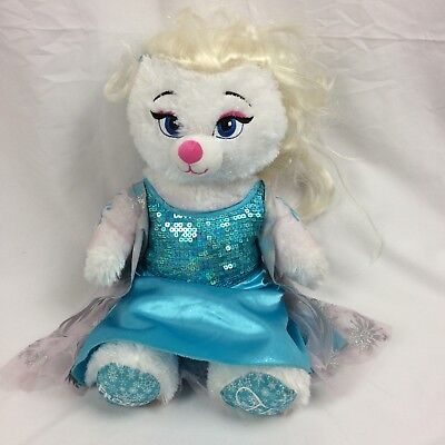 Build-a-Bear Frozen Elsa Plush Bear w/ Dress Wig Disney