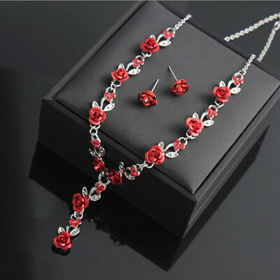 Rose Flower Rhinestone Necklace And Earrings Set Pendant Collar Charm Jewelry LG