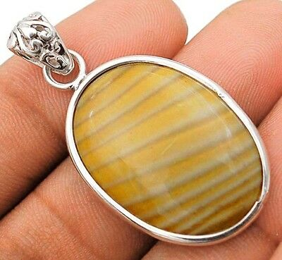 Striped Flint Ohio 925 Solid Sterling Silver Pendant Jewelry H1-9