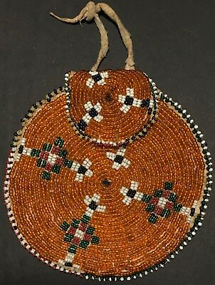 Late 19thC APACHE / PLAINS BEADED CIRCULAR POUCH,FINE BEADED FRINGE,EXCELLENT,NR