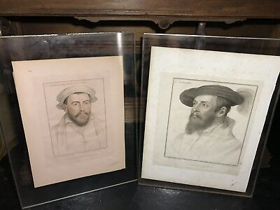 Antique Pair Of Engravings Framed in Plexi LORD WENTWORTH And EARLE Of DARBY
