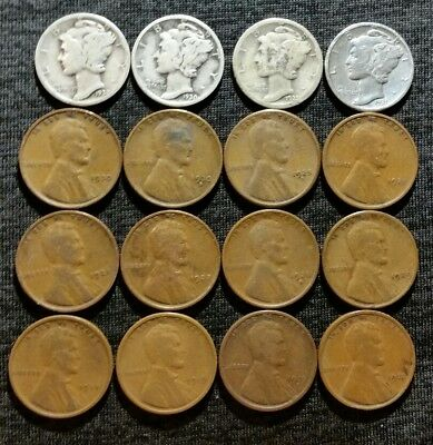 LOT OF 16 Old US COINS INCL 4 MERCURY SILVER DIMES & 12 WHEAT CENTS OLDER DATES