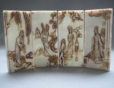 Old Chinese natural white jade hand-carved four belle jade statue