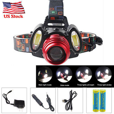 Zoomable 6000LM t6 LED Rechargeable 18650 Headlamp Head Torch Light + Charger