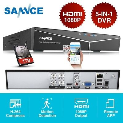 SANNCE HD 4CH 1080P HDMI 5in1 DVR CCTV Video Recorder for Security System+1TB