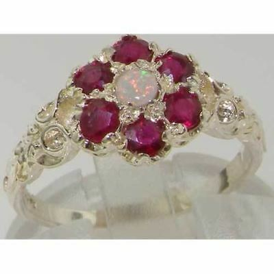 10ct White Gold Natural Opal & Ruby Ladies Vintage Daisy Ring - Sizes J to Z