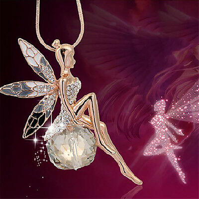 Fashion Women Fairy Angel Wing Crystal Pendant Long Chain Sweater Necklace Gift